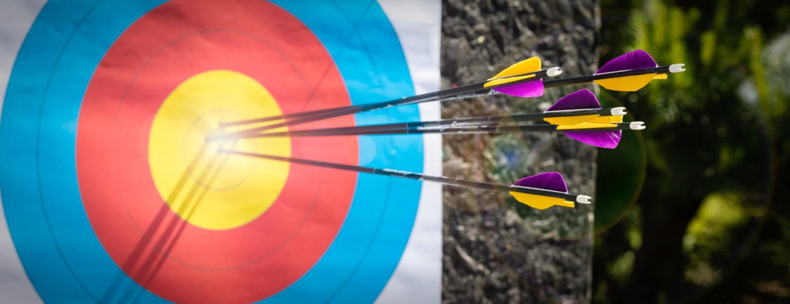 Zielscheibe mit Pfeilen. Eine der klassischen Disziplinen im Bogensport
