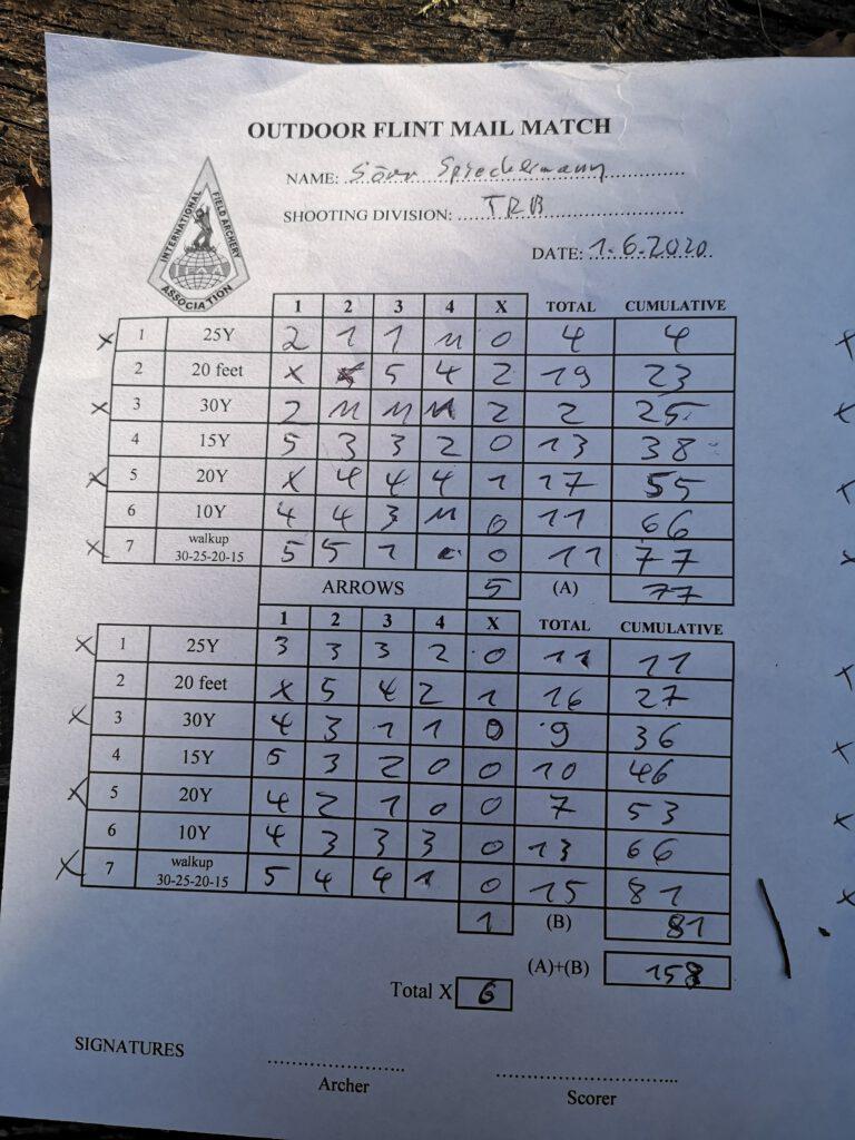 Wertungszettel im Bogensport zur Notierung der Ergebnisse.