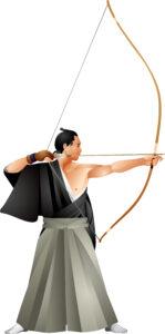 Japansicher Langbogen Daikyū mit Bogenschütze bei Kyodo