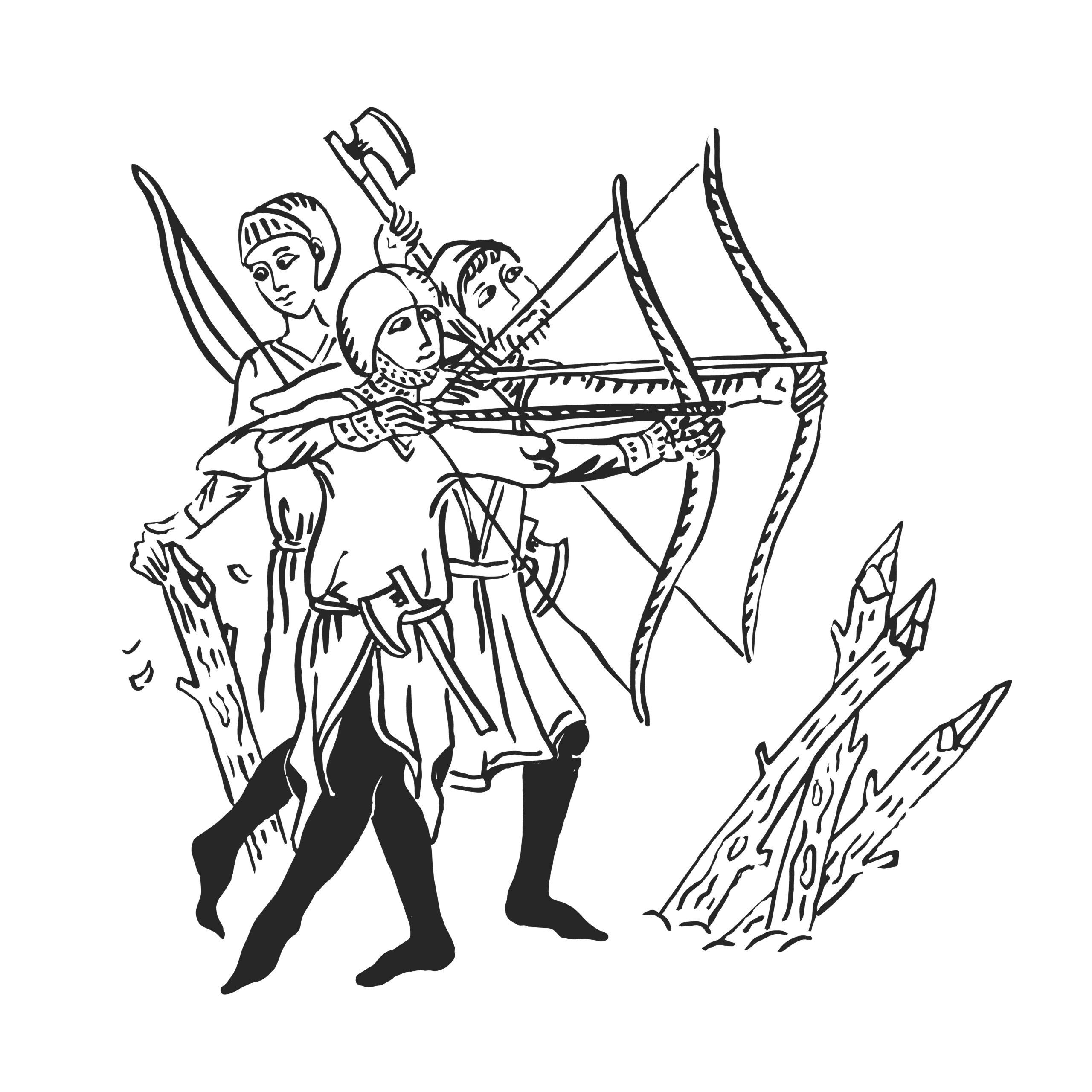 Mittelalterliche Bogenschützen mit Langbogen -Illustration
