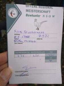 Regionalmeisterschaft Süd 3D Bowhunter 2020 / Wertung